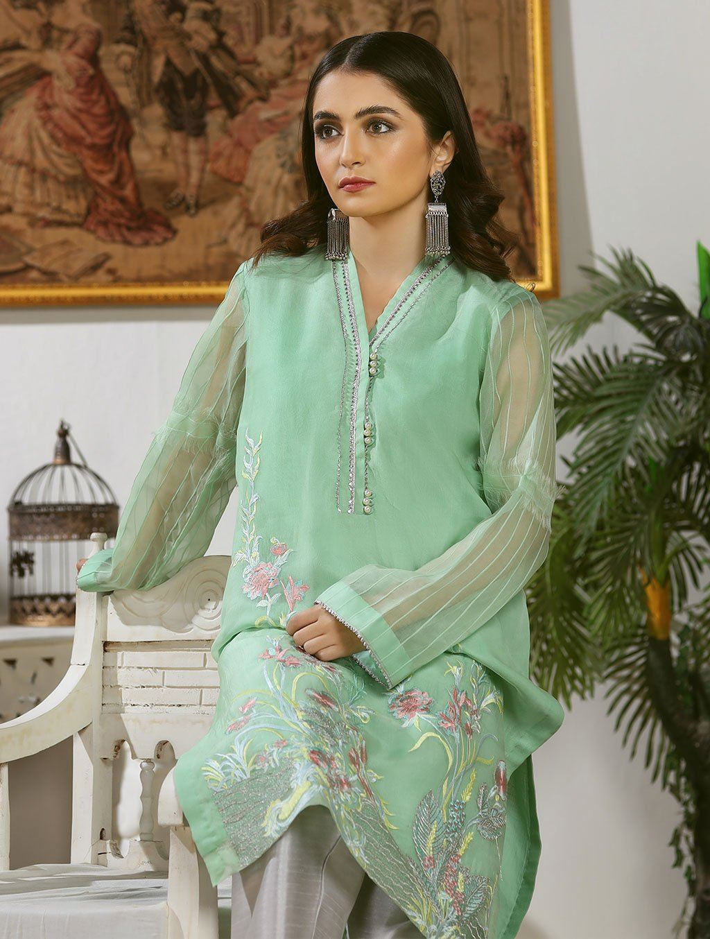 Luxury Embroidered Organza Pret Kurti ER-154 Luxury Pret FASSTILAD