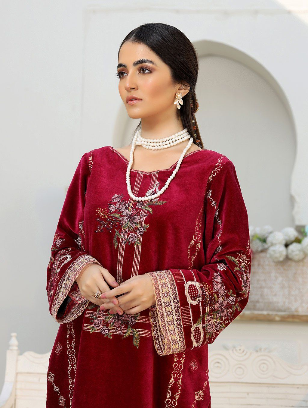 Luxury Embroidered Velvet Pret Kurti ER-150 Luxury Pret FASSTILAD