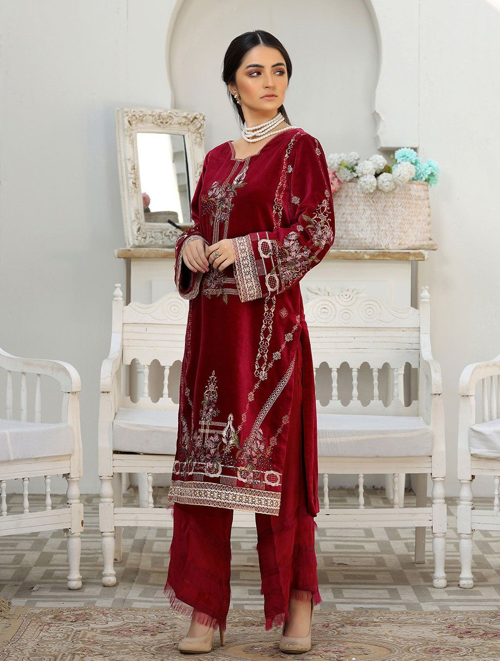 Luxury Embroidered Velvet Pret Kurti ER-150 Luxury Pret FASSTILAD S