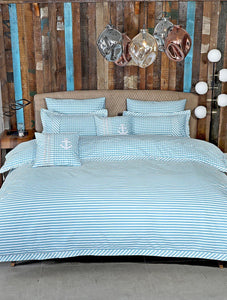 NAUTICAL GINGHAM Home Collection 20 HOMBEDIMP QUILT COVER QUEEN