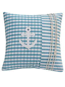 NAUTICAL GINGHAM Home Collection 20 HOMBEDIMP SQ. CUSHION COVER 18X18""