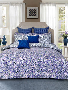 Orient Bloom Bed Set PRINTED RANGE 180 TC HOMBEDCLU Queen