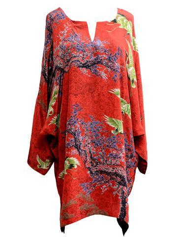 Red Silk Shirt Exotic Blossom KNES-10 Unstitched Digital Silk FASUNSLAD