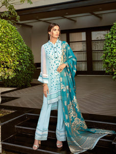 TURQUOISE ORNATE Chiffon Collection 2020-Volume 1 FASUNSLAD