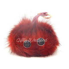 Power Fur Pom Fashion Accessory Power Bank 2000 mAH iPhone & Android RED WINE