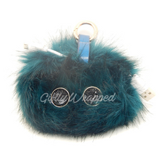 Power Fur Pom Fashion Accessory Power Bank 2000 mAH iPhone & Android BLUE PEACOCK