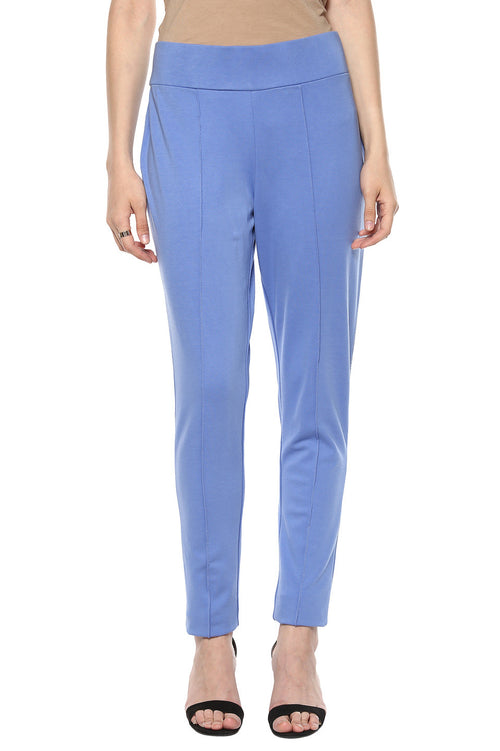 Comfy Match Solid Blue Jeggings - MODA ELEMENTI