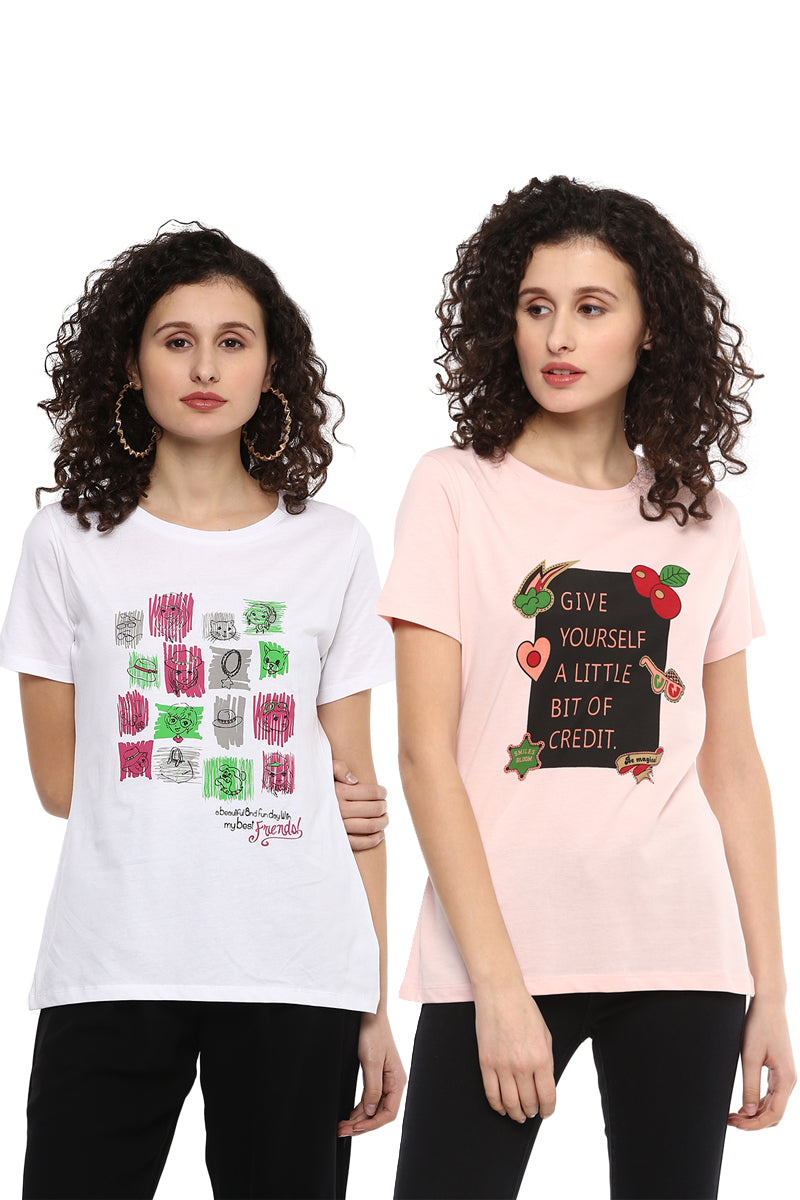 Casual T-Shirt Combo Pack (White | Pink) - MODA ELEMENTI