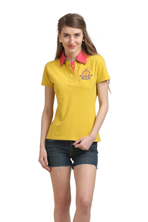 Solid Embroidered Badge Polo T-Shirt - MODA ELEMENTI
