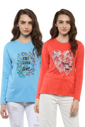 Full Sleeve Casual T-Shirt Combo Pack (Lt.Blue | H.Coral) - MODA ELEMENTI