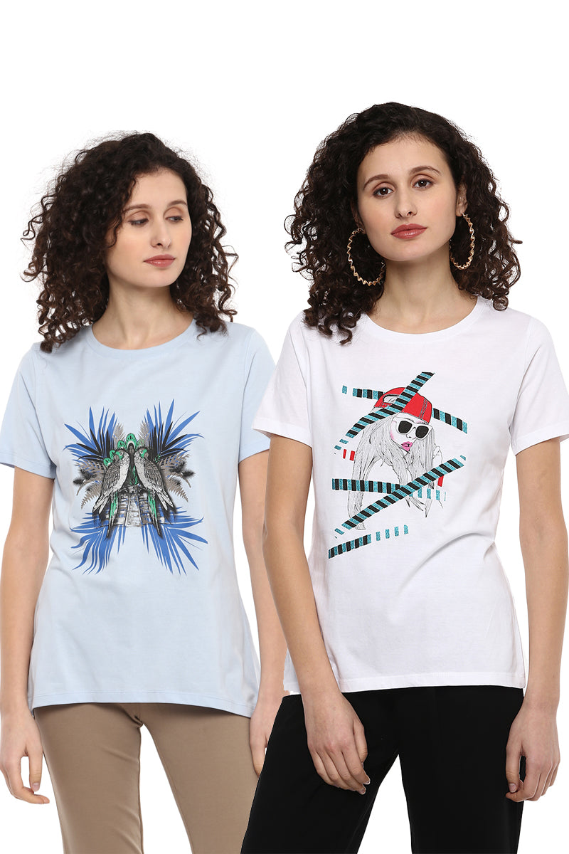 Casual T-Shirt Combo Pack (White | Blue) - MODA ELEMENTI