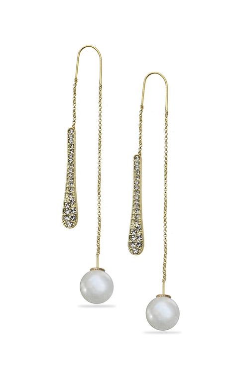 Gold Metal Pearl Drop Earrings - MODA ELEMENTI