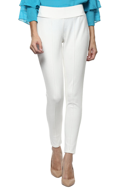 Comfy Match Solid White Jeggings - MODA ELEMENTI