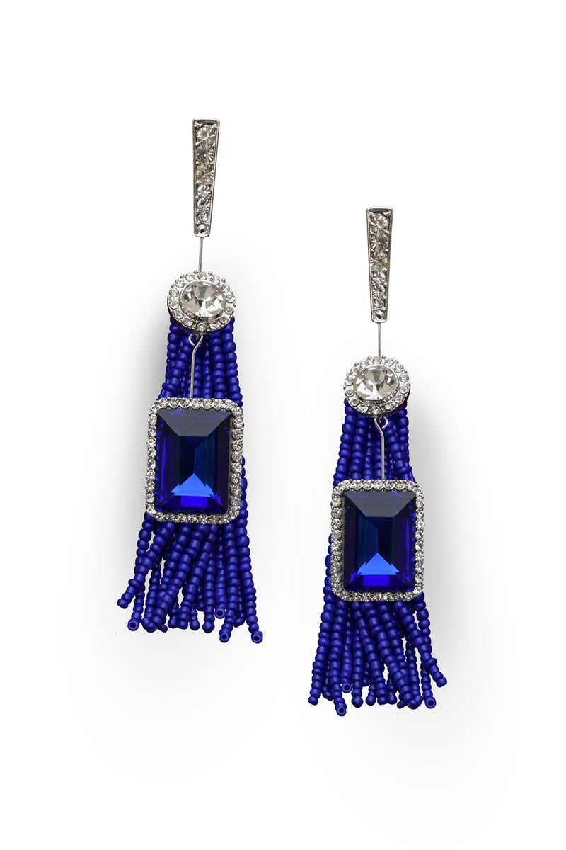 Royal Blue Bead Designer Earrings - MODA ELEMENTI