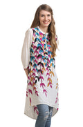 Colored Leaf Canopy Printed Tunic - MODA ELEMENTI