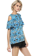 Deep Sea Cold Shoulder Top - MODA ELEMENTI
