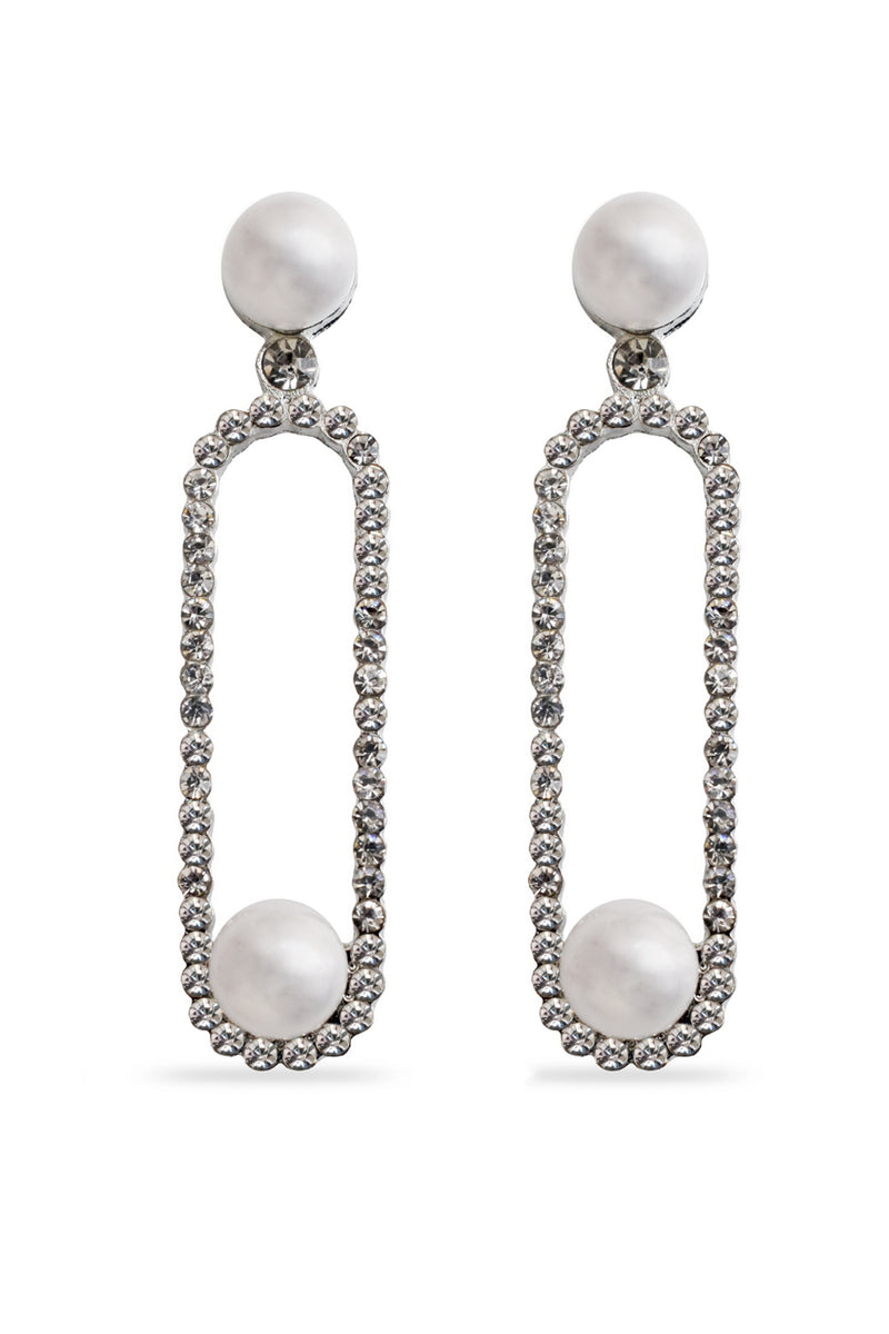Shine Silver Pearl Designer Earrings - MODA ELEMENTI