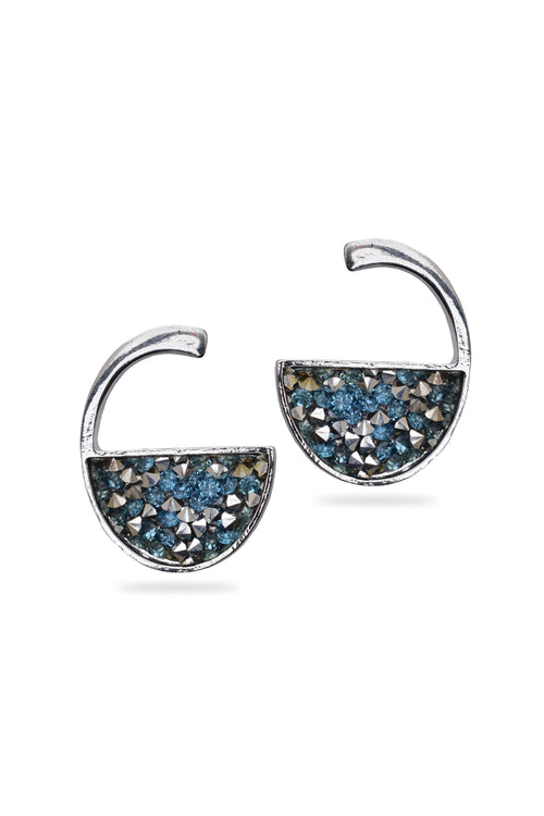 Blue small Crystal Stud Earrings - MODA ELEMENTI