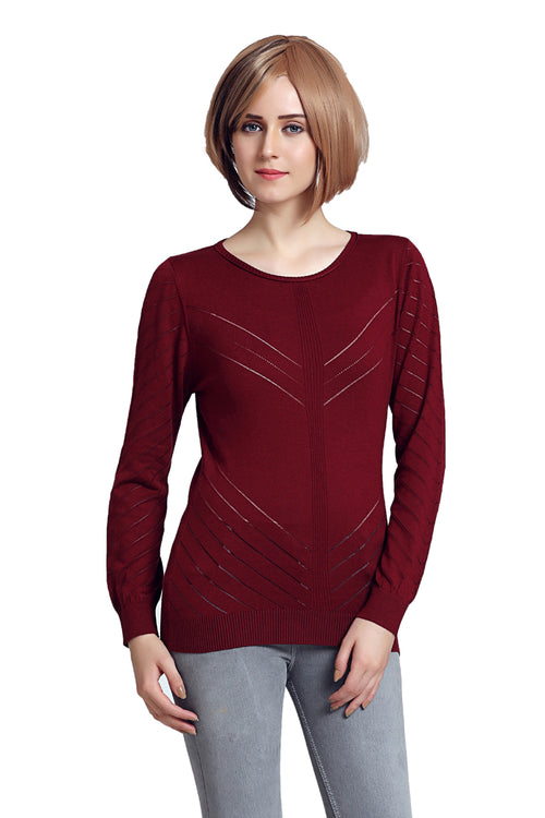 Solid Self Designed Women Sweater