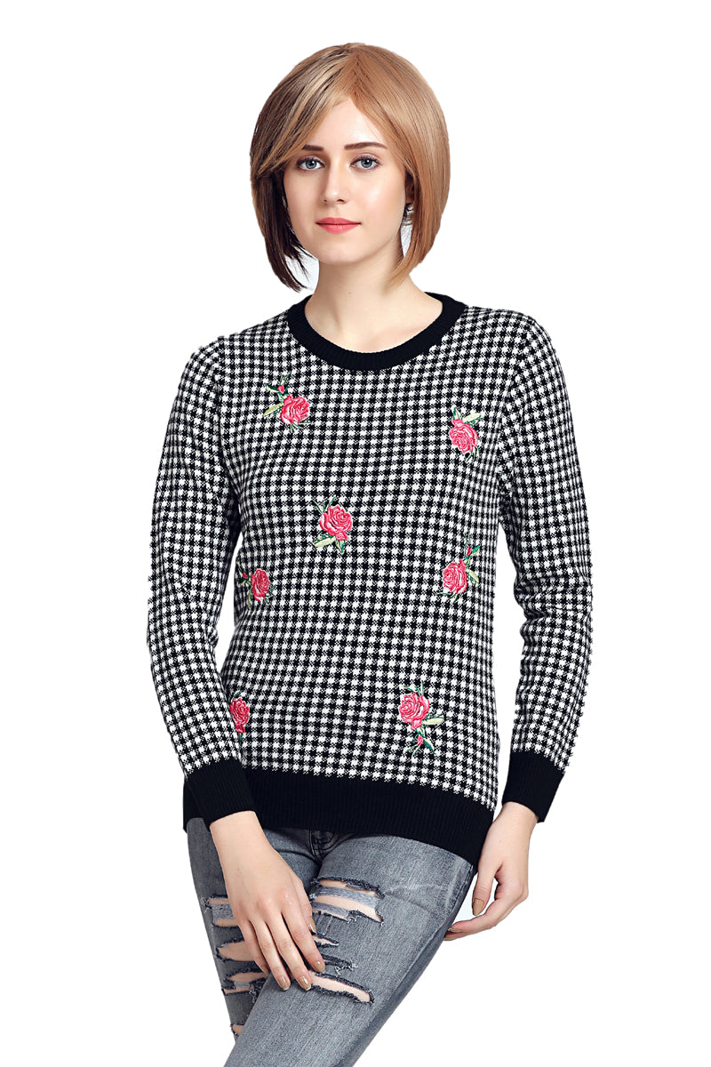 Checkered Round Neck Jumper - MODA ELEMENTI