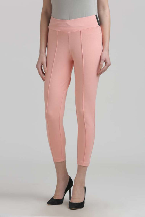 Peach Solid Jeggings - MODA ELEMENTI