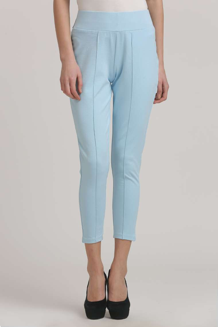 Sky Blue Solid Jeggings - MODA ELEMENTI