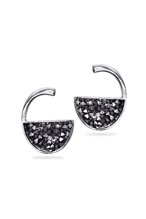 Silver Tiny Crystal Stud Earrings - MODA ELEMENTI