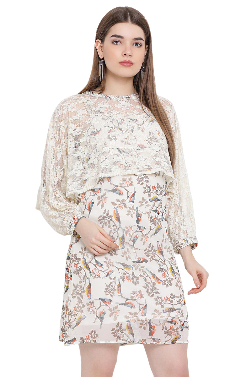 Birds Printed Lace Midi Dress