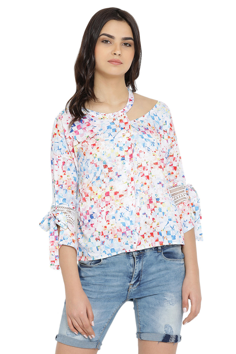 Abstract Printed Self Designed Top