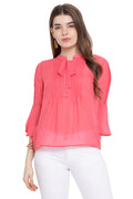 Front Tie Cherry Kiss Casual Top