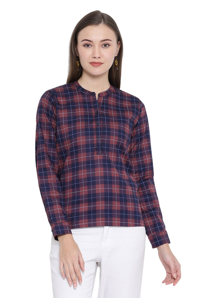 Mandarin Collar Half Placket Shirt
