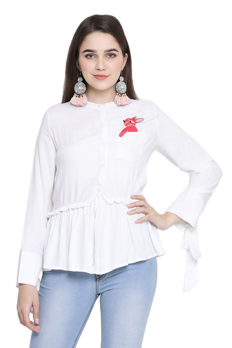 Full Sleeve Self Designed Casual Shirt