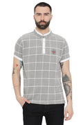 Axmann Checkered Mandarin Collar Polo T-Shirt