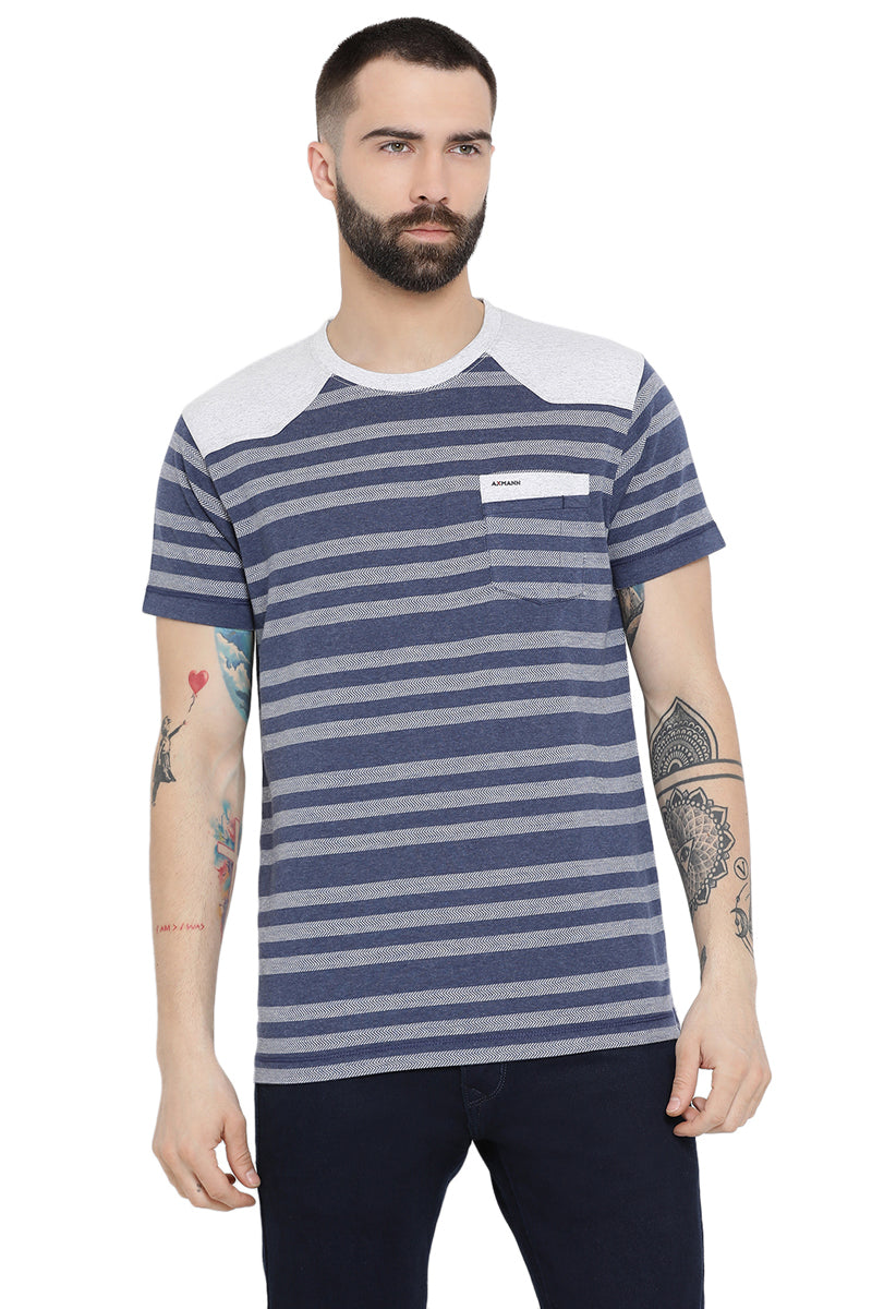 Axmann Casual Striped Round Neck T-Shirt
