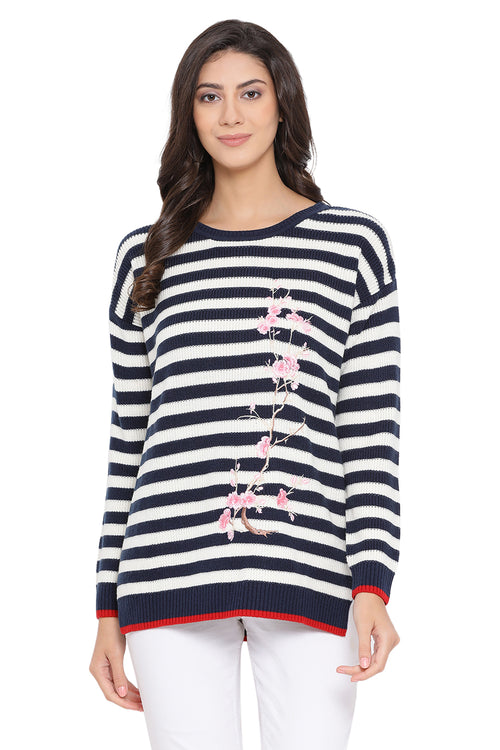 Striped Floral Full Sleeve Jumper
