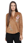 Embroidered Cross Over Winter Top