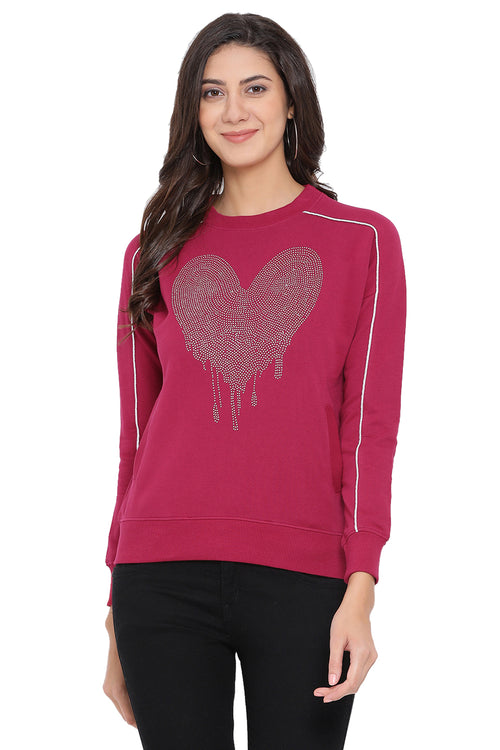 Dipping Heart Embellished Sweatshirt