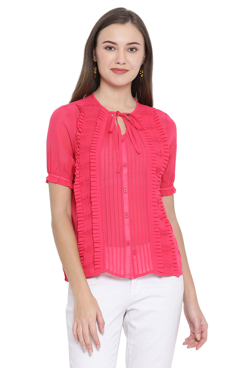 Front Tie Pleated Shirt