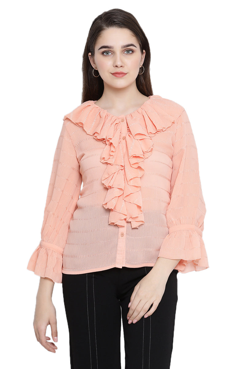 Ruffled Bell Sleeve Buttoned Top