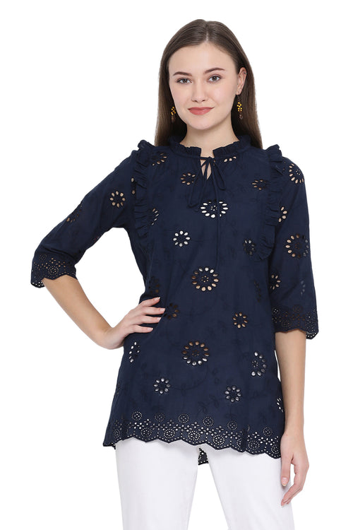 Front Tie Laser Cut Casual Tunic