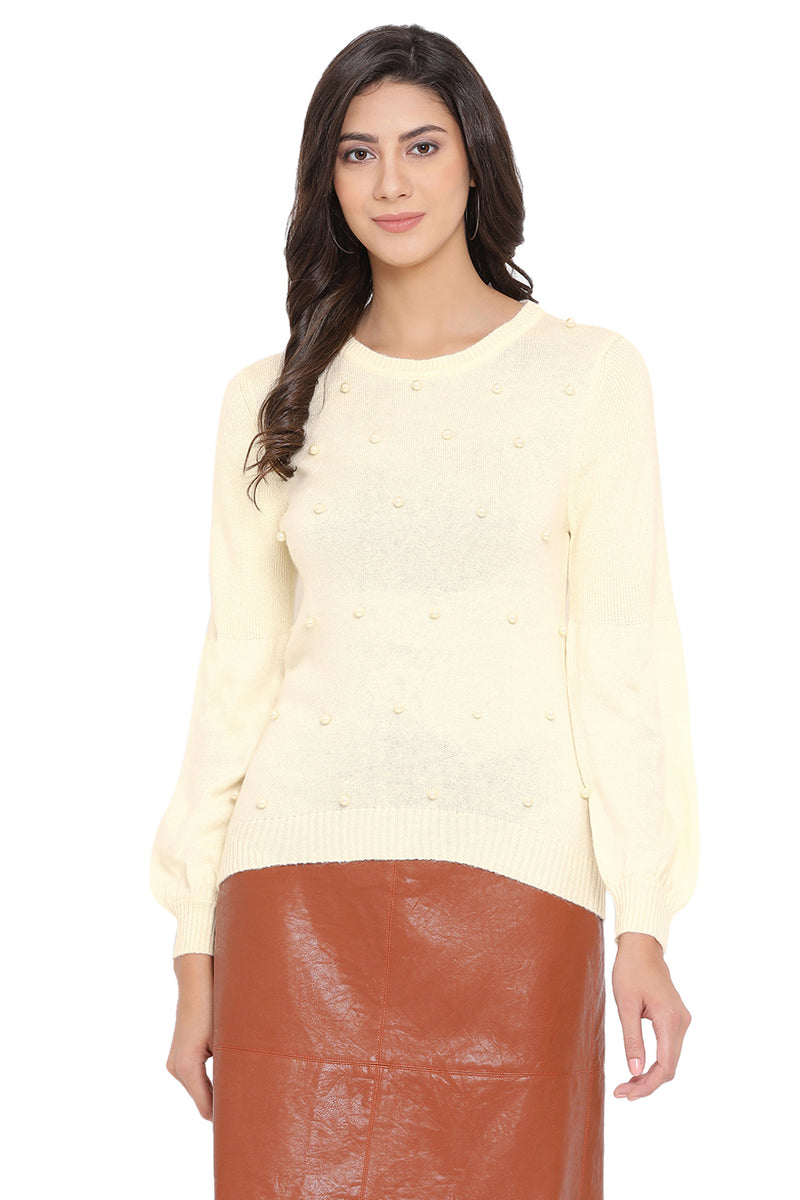 Solid Embellished Casual Jumper
