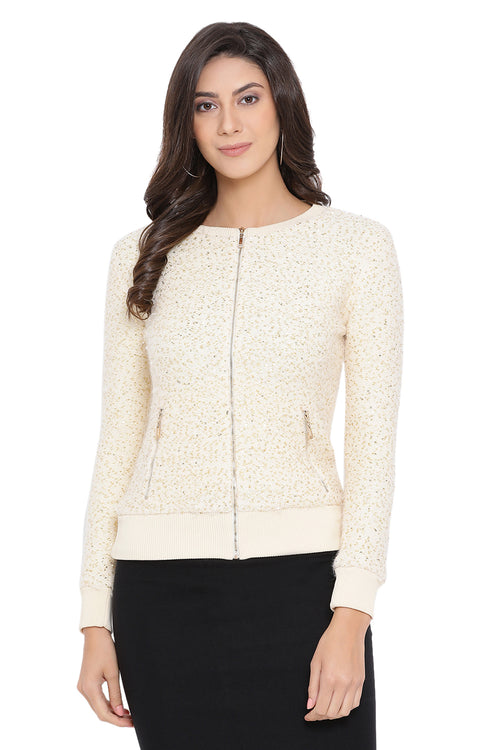 Sequin Pleasure Zipper Cardigan