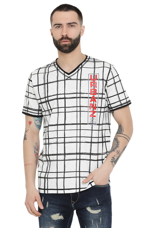 Axmann Check Casual V-Neck T-Shirt