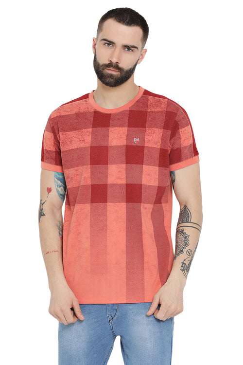 Axmann Shaded Check Casual T-Shirt
