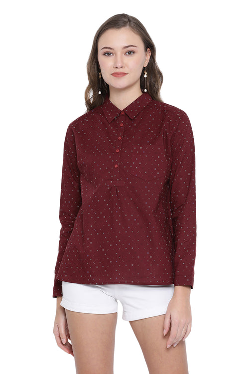 Half Placket Full Sleeve Shirt