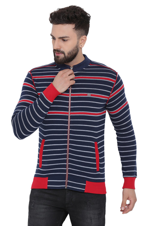 Axmann Basix Striped Zipped Sweatshirt