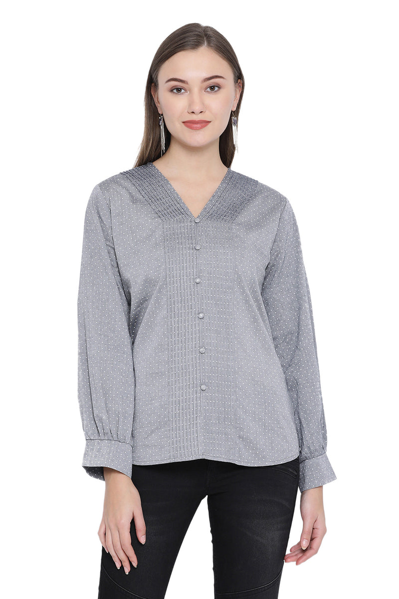 Front Pleated Shirt Style Top