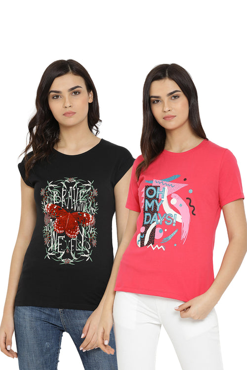 Casual T-Shirt Combo Pack (Pink | Black)