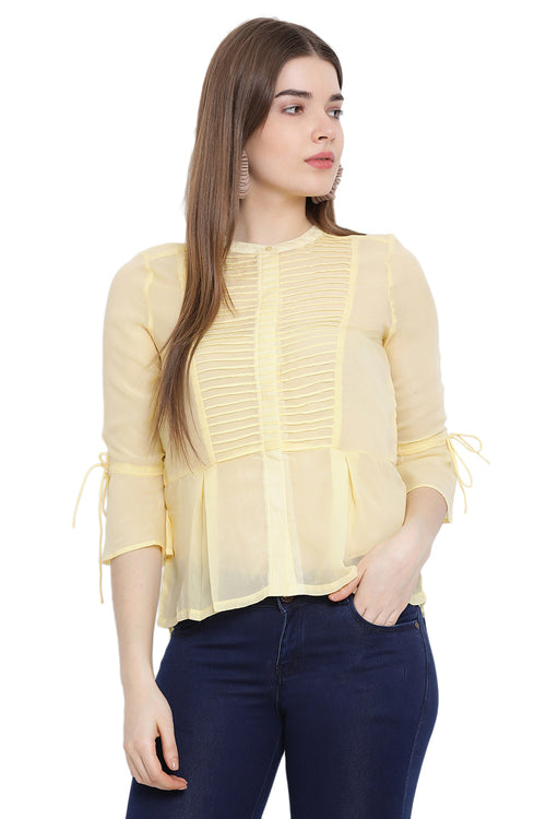 Front Pleated Buttoned Shirt