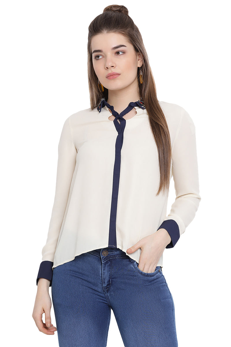 Statement Collar Casual Top